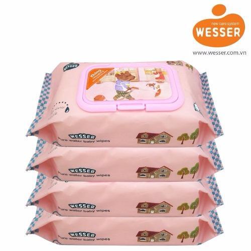 Bộ 4 gói khăn ướt Wesser 80 tờ (Hồng)