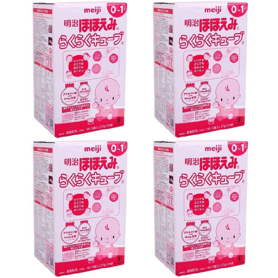 Bộ 4 sữa Meiji số 0 dạng thanh 28g x 24 gói