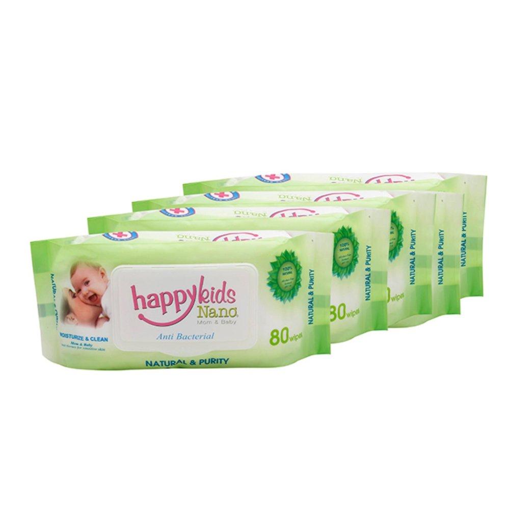 Bộ 5 gói khăn ướt không mùi 80 tờ Happykids Nano (Xanh lá)