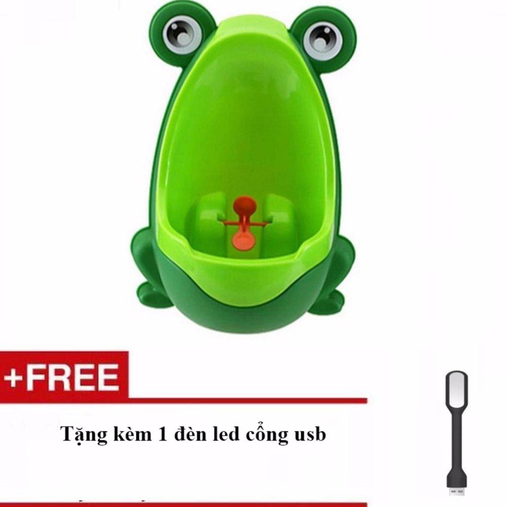 Bô tiểu thông minh hình chú ếch cho bé(Xanh) + Tặng kèm 1 đèn led cổng USB
