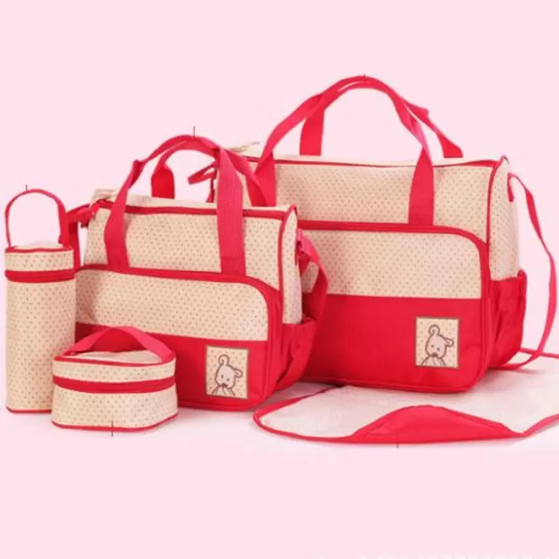 Bộ túi đựng đồ 5 chi tiết cho mẹ và bé(Đỏ-chấm bi)