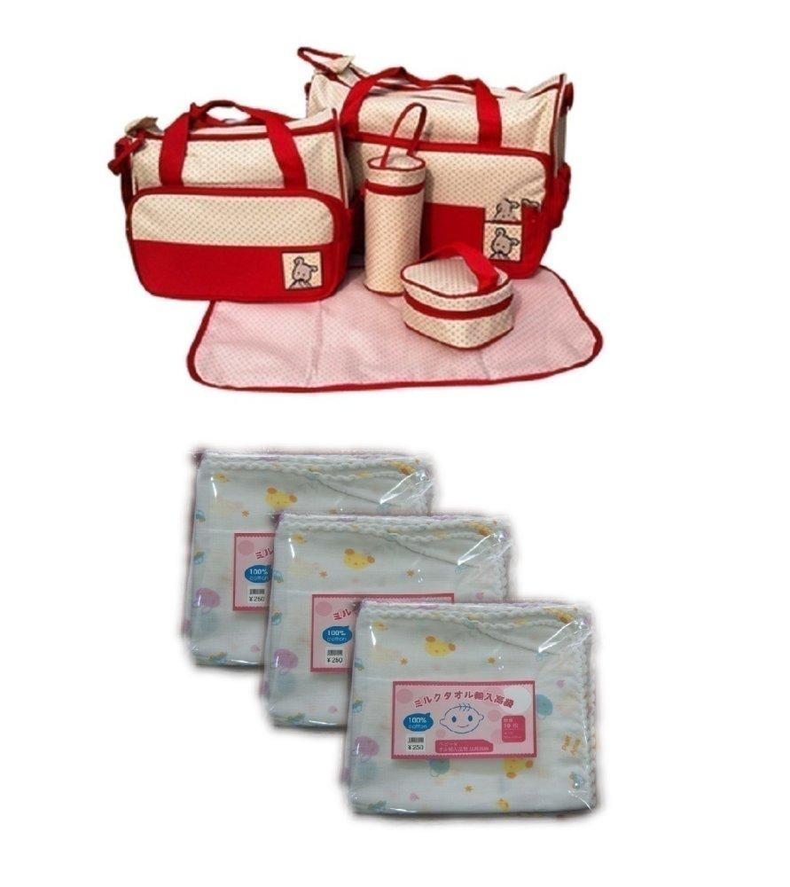 Bộ Túi đựng đồ cho mẹ và bé 5 chi tiết (Đỏ) và Bộ 3 túi khăn sữa 2 lớp 32x32cm