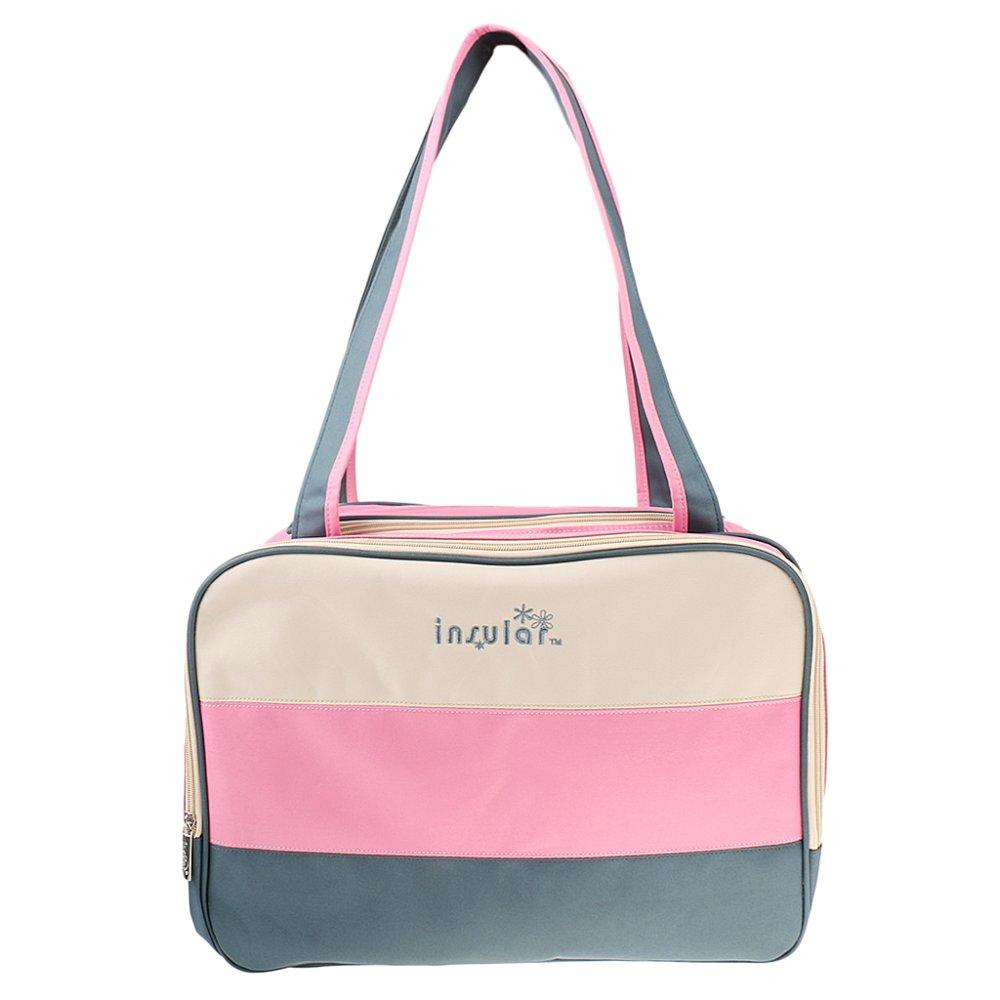 BolehDeals Multifunction Color Block Organiser Mummy Handbag Baby Diaper Nappy Bag Pink - intl