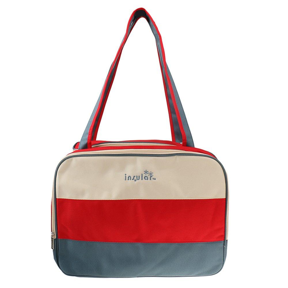 BolehDeals Multifunction Color Block Organiser Mummy Handbag Baby Diaper Nappy Red - intl