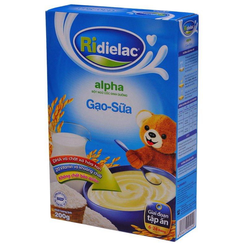 Bột ăn dặm Ridielac Alpha Gạo Sữa hộp giấy 200g