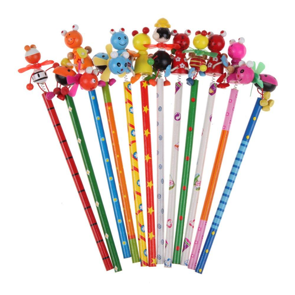 Children's Creative Toy Wooden Windmill Pencil 22.5cm Animal Design - intl