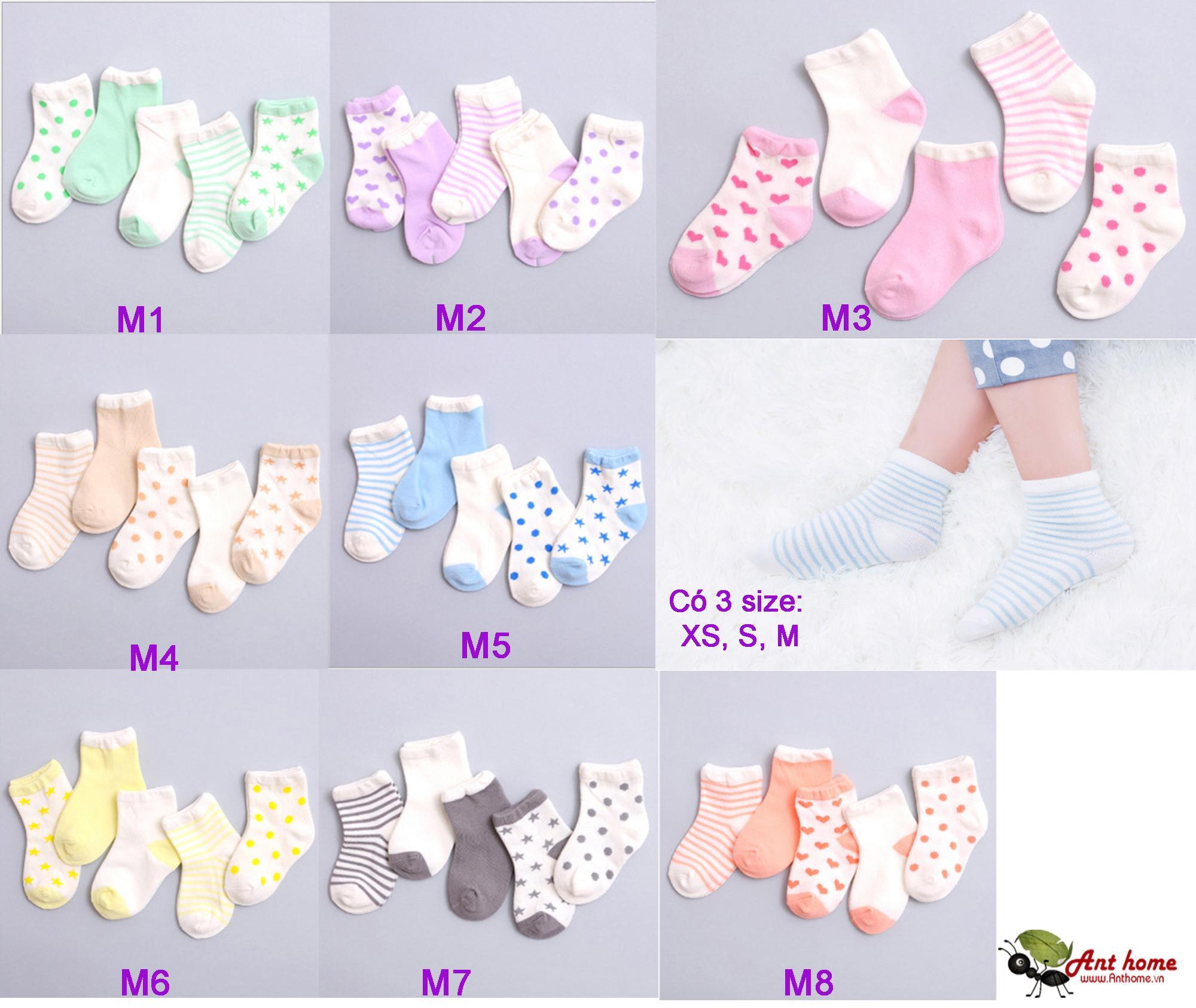 Combo 5 đôi vớ (tất) bé gái từ 0-1 tuổi size XS mẫu M6