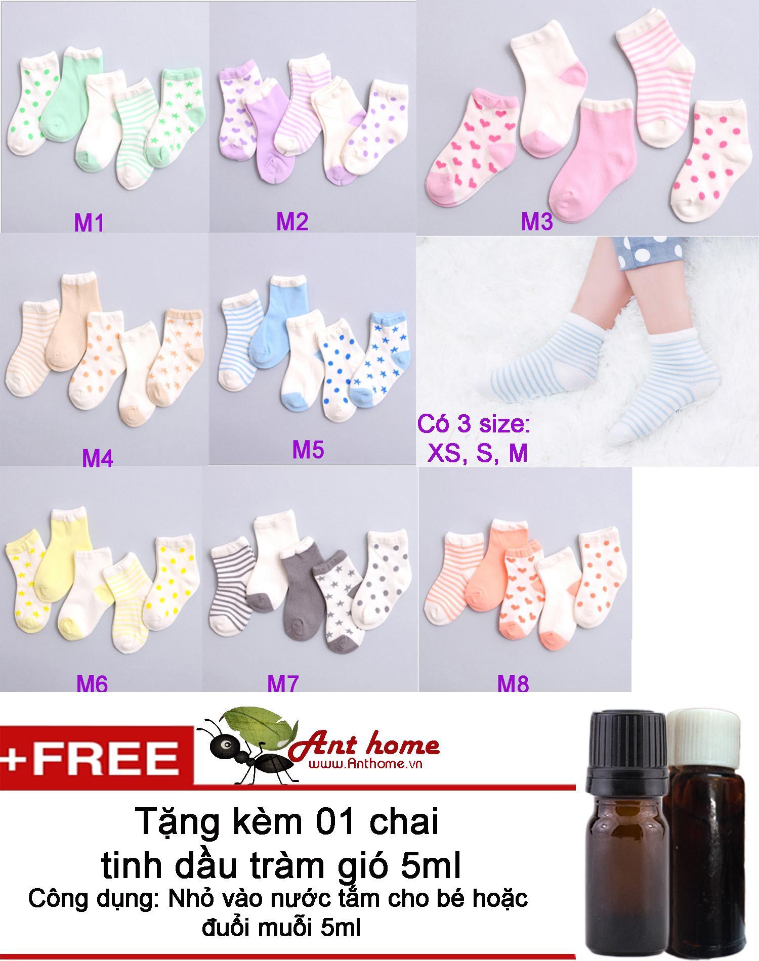 Combo 5 đôi vớ (tất) bé gái từ 0-1 tuổi size XS mẫu M6 + Tặng 1 chai tinh dầu tràm gió 5ml