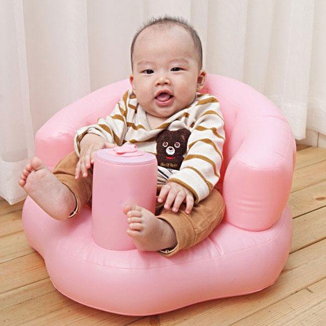 Ghế hơi tập ngồi bơm tay tiện dụng cho bé Clever Mart (Hồng)