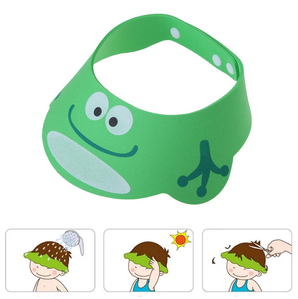 Green Adjustable Baby Kids Shampoo Cap Bath Shower Cap Wash Hair Shield - intl