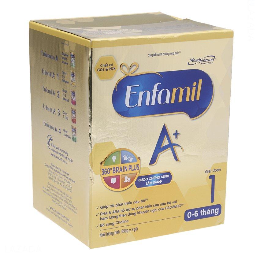 Hộp 3 gói sữa bột Enfamil A+1 360o Brain Plus 650g