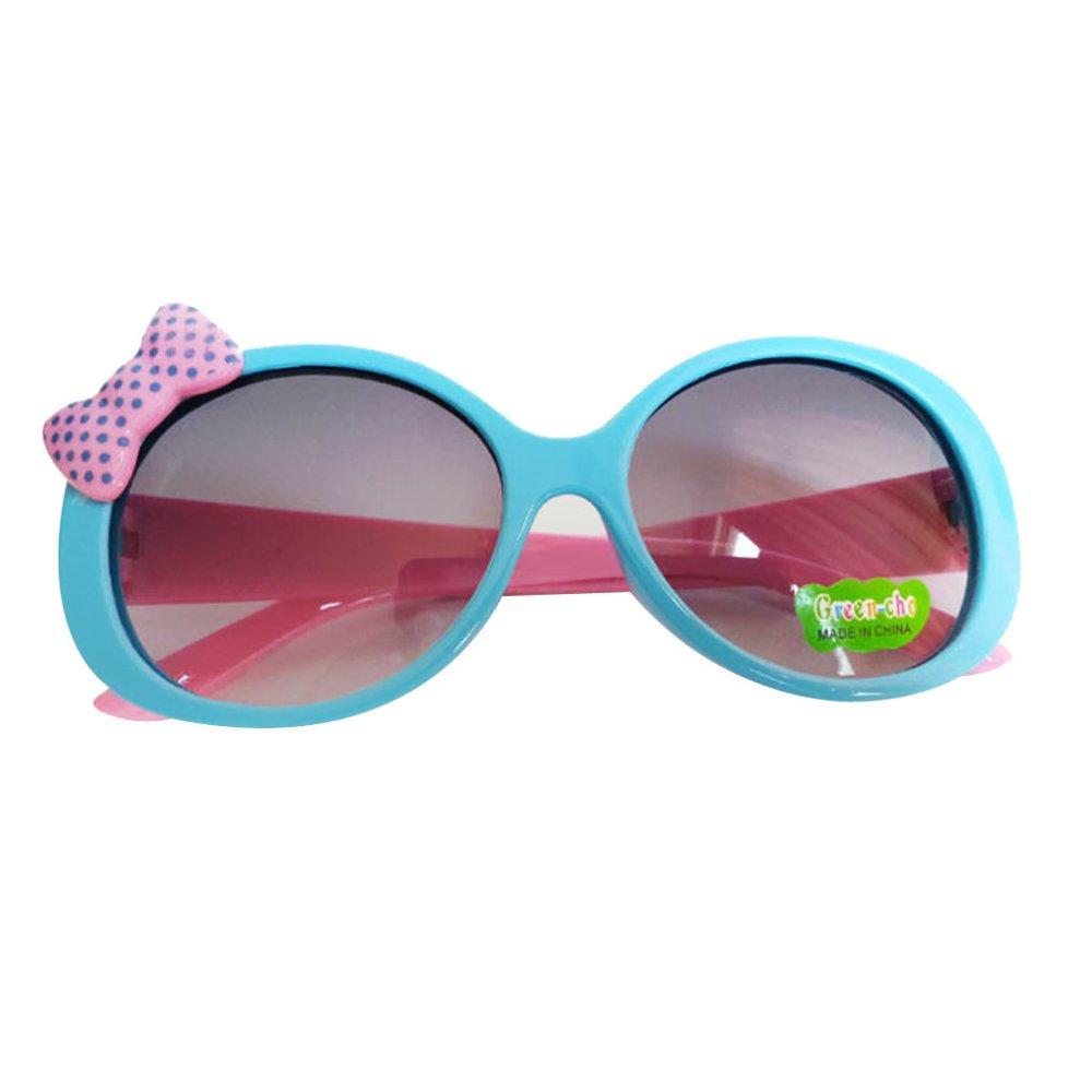 Kids Cute Fashion Bowknot Decoration Fun Sunglasses Gift Blue Frame - Intl