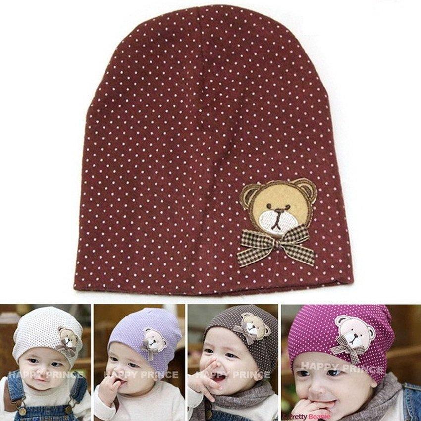 Mũ chấm bi cotton cho bé (Nâu đậm)