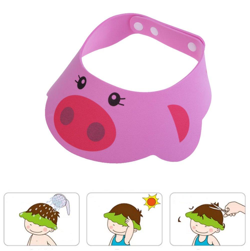 Pink Adjustable Baby Kids Shampoo Cap Bath Shower Cap Wash Hair Shield - intl