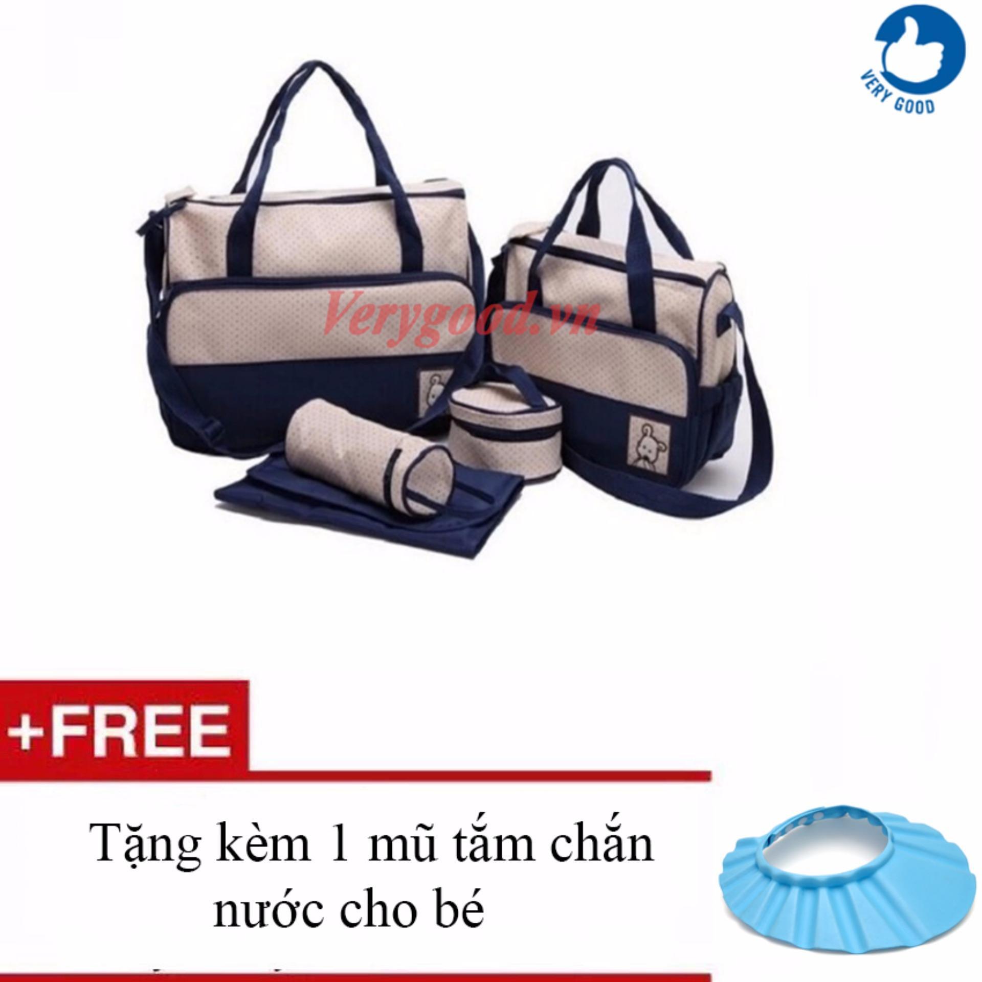 Túi đựng đồ cho mẹ và bé 5 chi tiết (Xanh navy) + Tặng kèm 1 mũ chắn nước cho bé