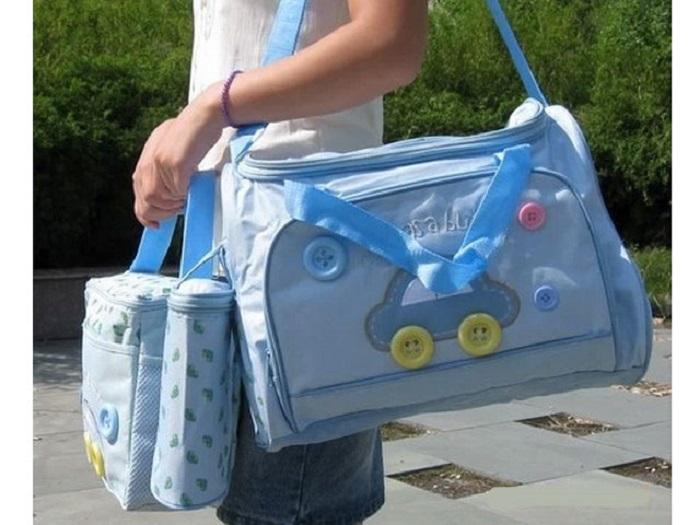 Túi đựng đô cho mẹ và bé hình ô tô CILO (Xanh nhạt)