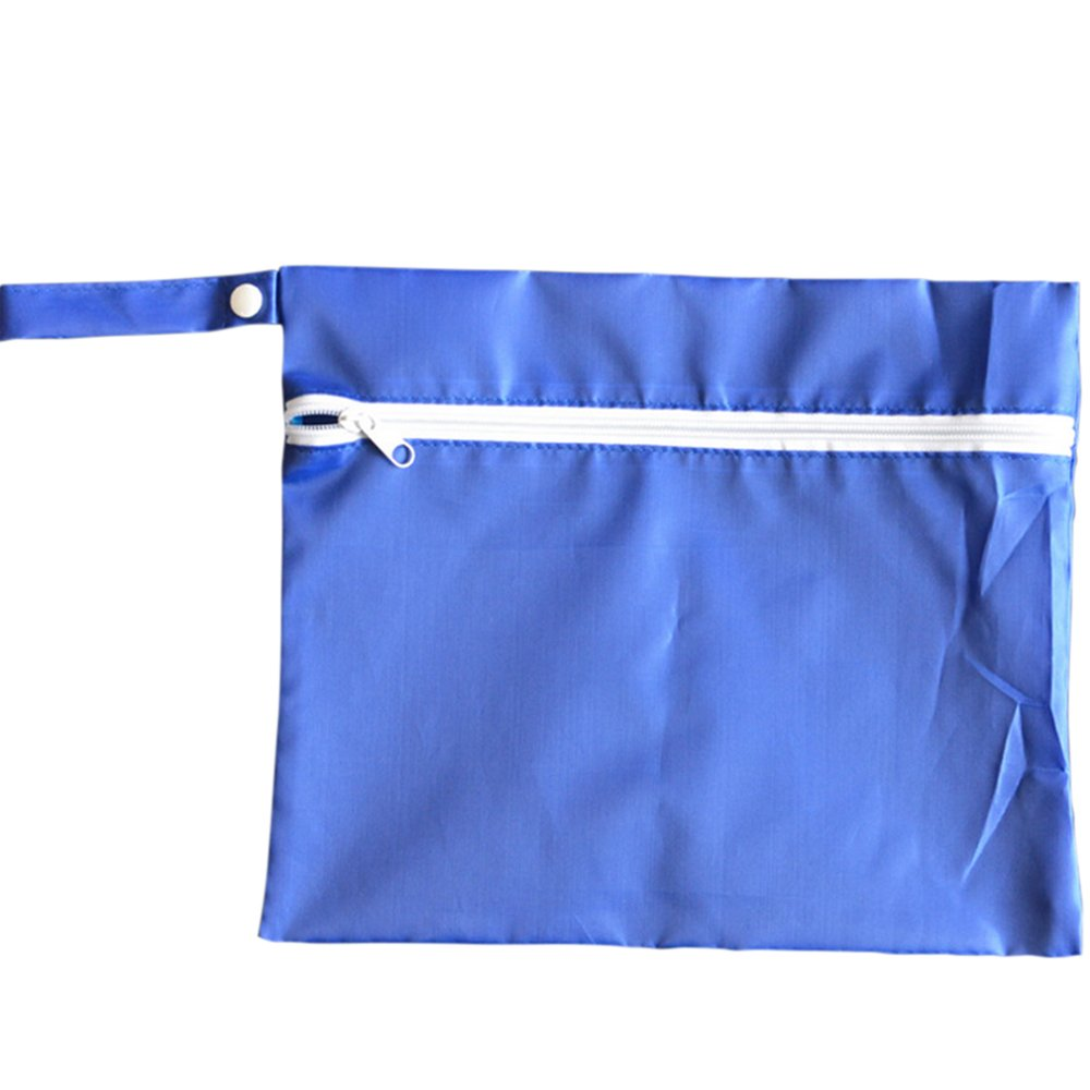 Waterproof Baby Wet Dry Dirty Cloth Diaper Nappy Pram Stroller Buggy Hanging Organizer Zipper Bag Pack Blue - intl