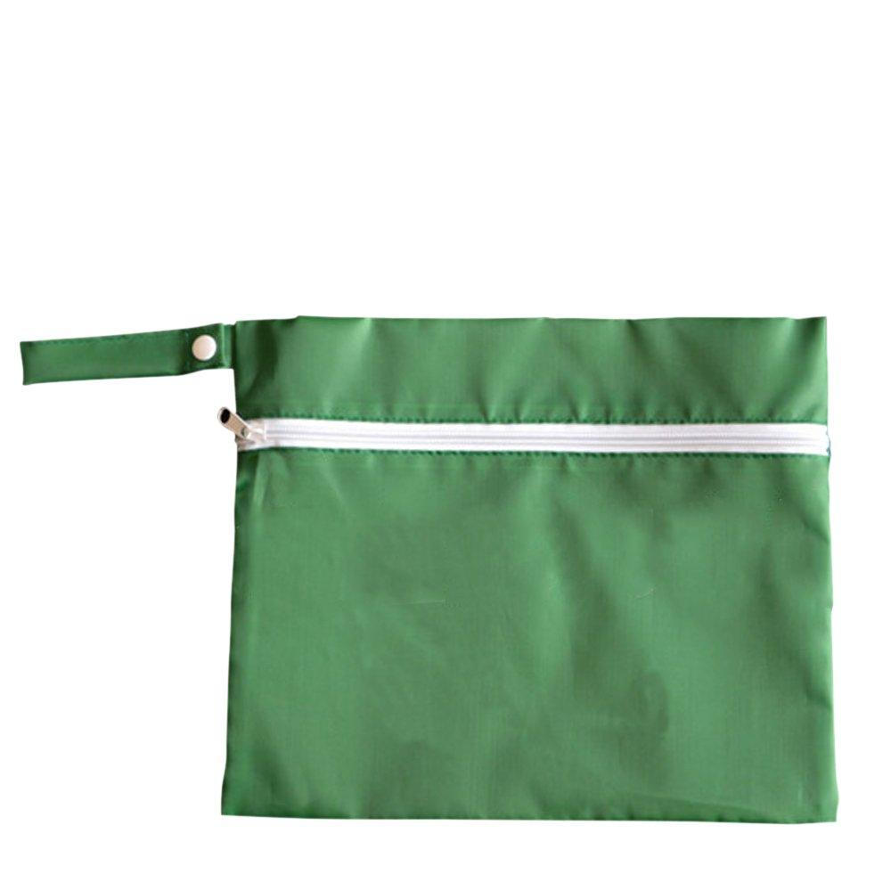 Waterproof Baby Wet Dry Dirty Cloth Diaper Nappy Pram Stroller Buggy Hanging Organizer Zipper Bag Pack Green - intl