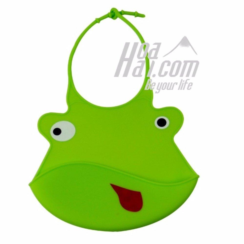 Yếm ăn cho bé có máng hứng in hình ếch con (xanh)