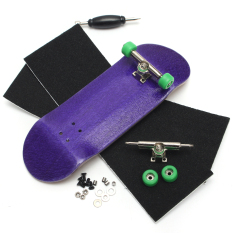 Basic Complete Wooden Fingerboard Finger Scooter with Bearing Grit Box Foam Tape Purple - intl