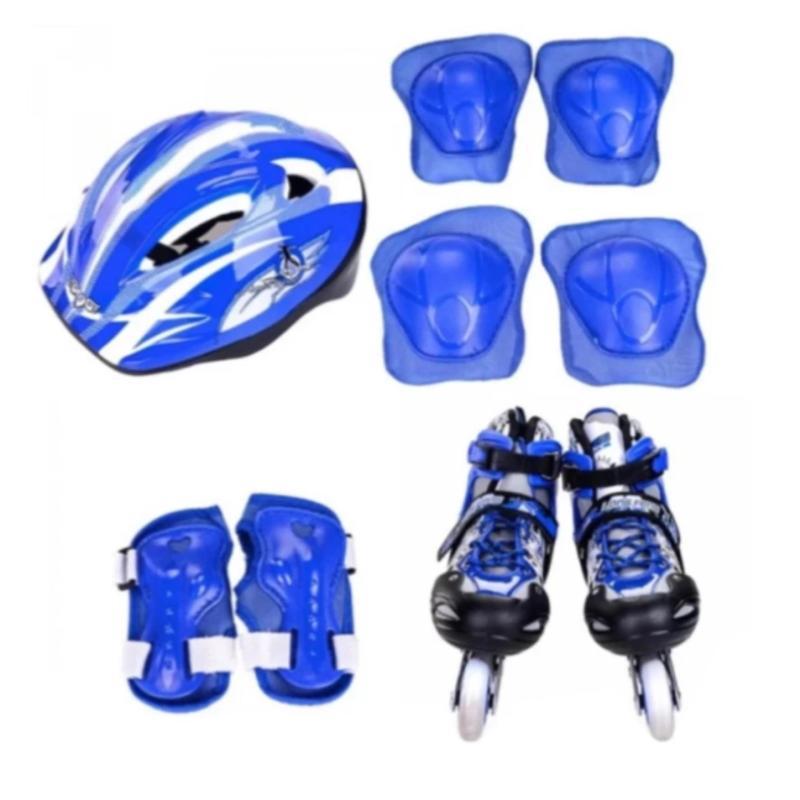 Mua Bộ giày chơi patin ( giày trượt + bảo vệ tay chân + nón bảo hộ ) có túi đi kèm size L 38-42 ( xanh )