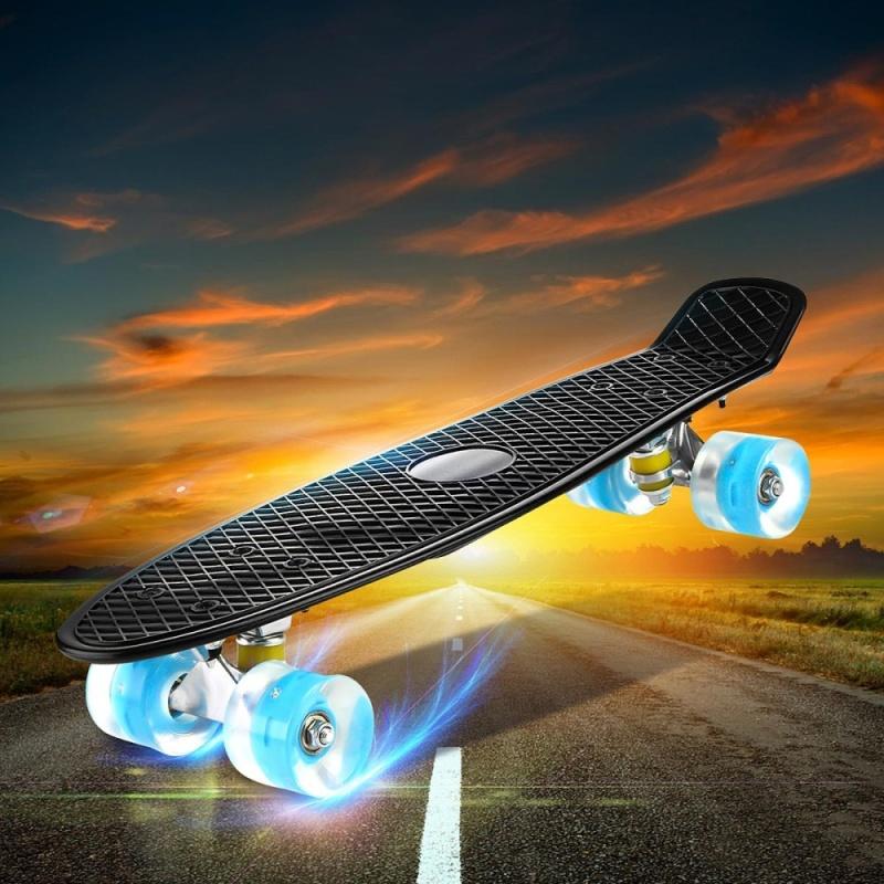 "Mua Enkeeo Kids Youths 22"" Penny Style Skateboard Long Board Plastic Stakeboard Gift Black - intl"