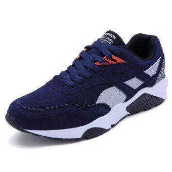 Fashion Casual Men Lace Up Running Sneakers Shoes (BLUE) - intl