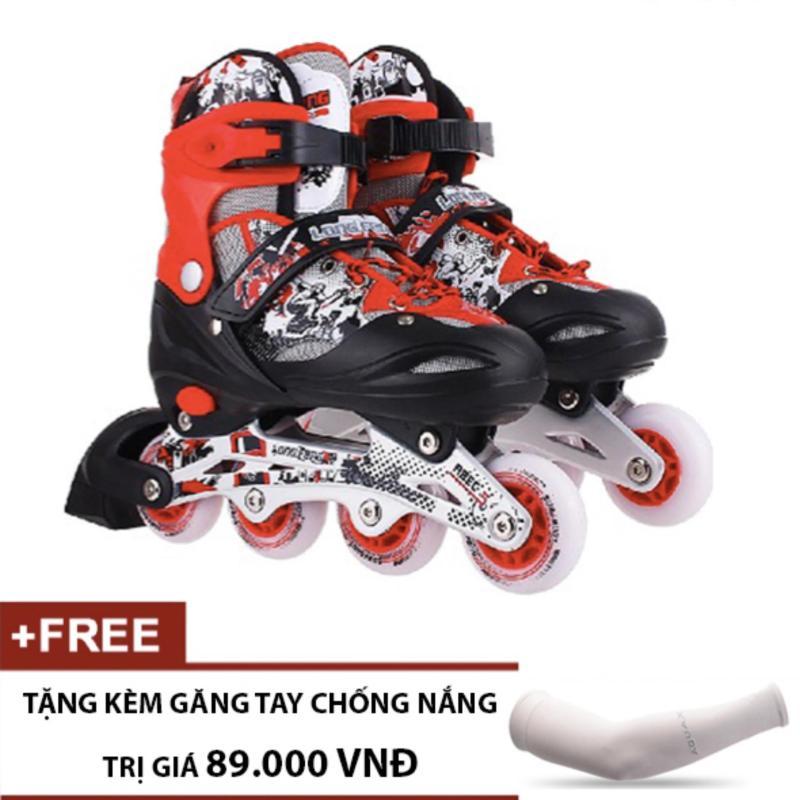 Mua Giày Trượt Patin Trẻ Em Long Feng 906 (Đỏ Đen) - Tặng kèm găng tay chống nắng