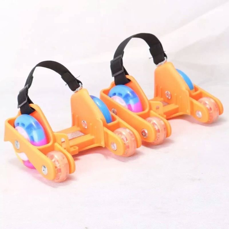 Phân phối Newly Colorful PU 4 Wheel Flashing Roller Skates(Orange) - intl