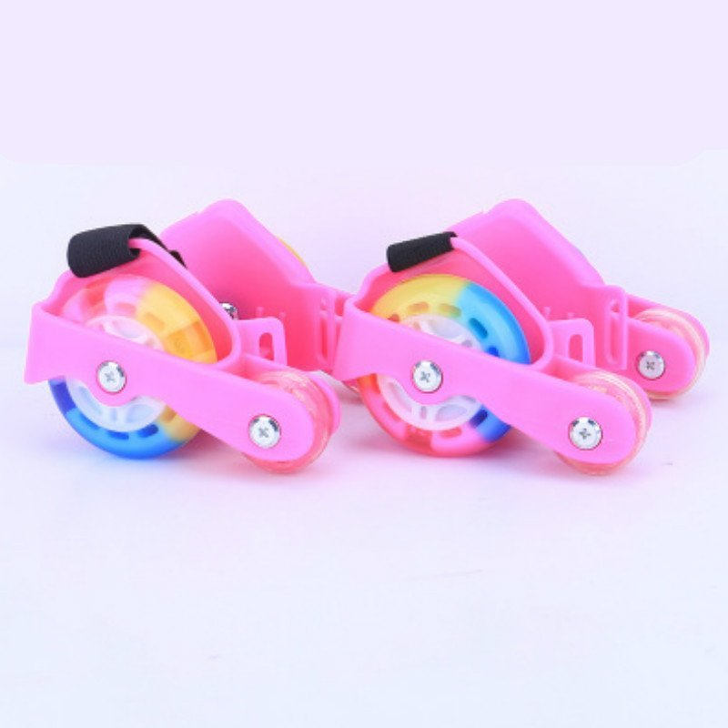Phân phối Newly Colorful PU 4 Wheel Flashing Roller Skates(Pink) - intl