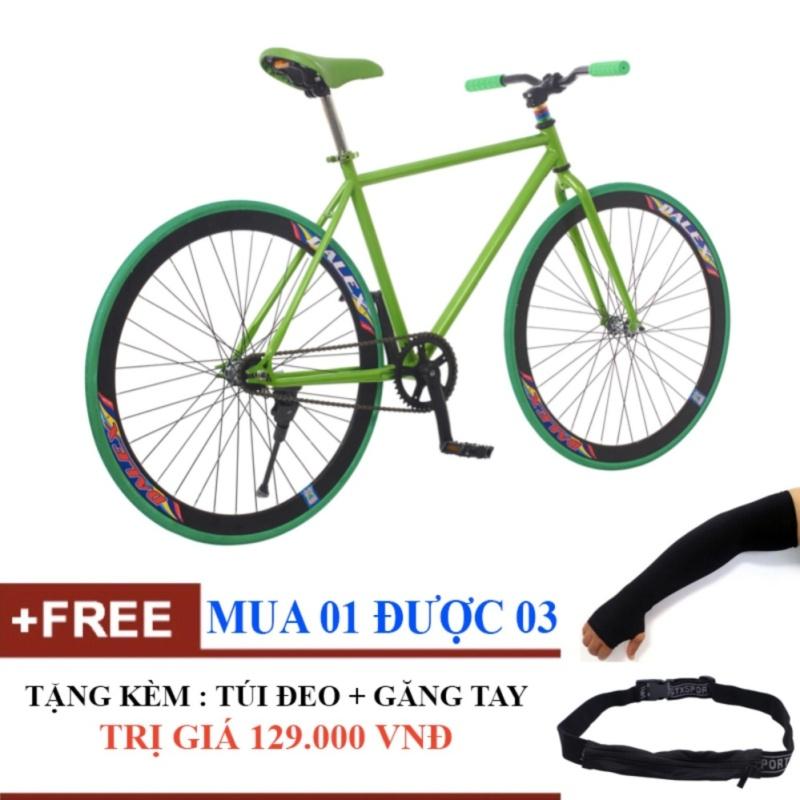 Phân phối Xe đạp Fixed Gear Single (Đỏ phối đen) Tặng túi đeo hông + găng tay xỏ ngón