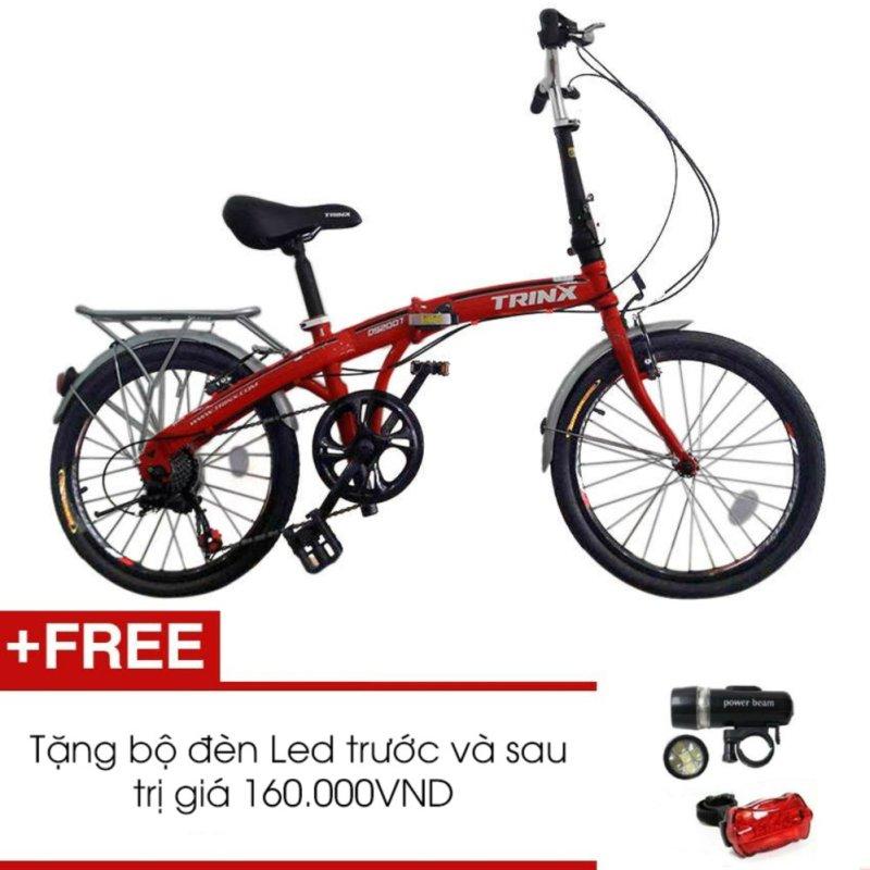 Phân phối Xe đạp gấp TRINX DS2007(Đỏ) + Tặng 1 bộ đèn Led trước và sau