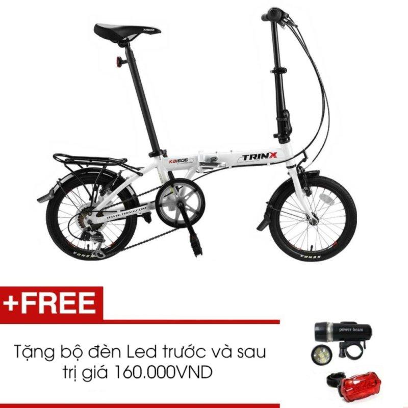 Mua Xe đạp gấp TRINX KA1606 (trắng) + Tặng 1 bộ đèn Led trước và sau
