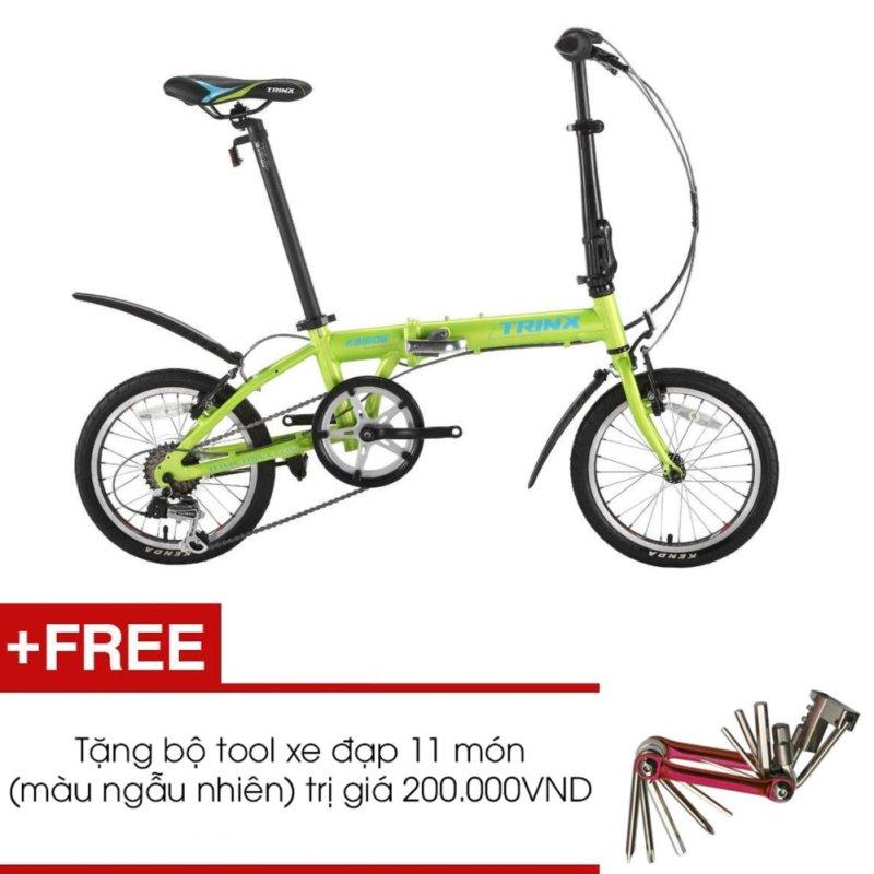 Mua Xe đạp gấp TRINX KA1606( XANH LÁ) + Tặng 1 bộ Tool xe đạp 11 món màu sắc ngẫu nhiên