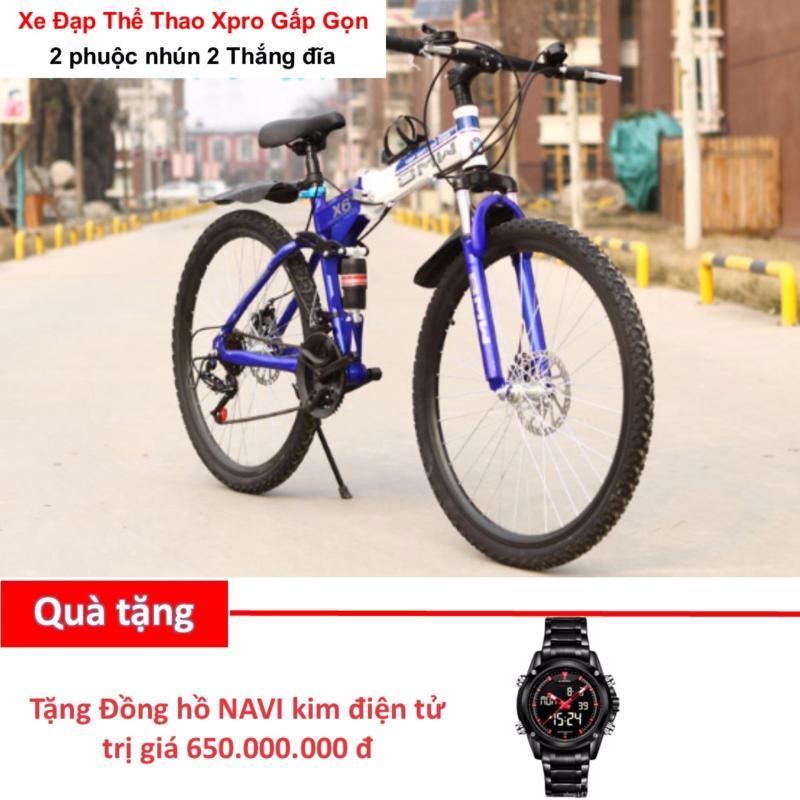 Phân phối Xe đạp leo núi gấp gọn Xpro cao cấp 2 phuộc nhún 2 thắng đĩa - Tặng Đồng hồ NAVI Cao cấp Kim điện tử Led