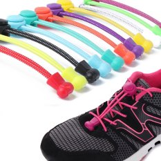 1 Pair Newest Women Lady Men Elastic No Tie Locking Trainer Running Athletic Sneaks Shoe Laces (ColorᆪᄎRose red) - intl