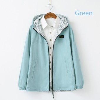 2016 Spring Autumn New Sweet Female Hooded Loose Coat (Green) -intl
