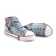 2017 Canvas Children Sport Breathable Sneakers Denim Casual Child Flat Shoes (EU SIZE 25-37/ Light Blue) - intl