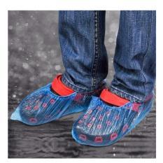 Bộ 100 đôi bao nilon bọc giày đi mưa (Xanh)