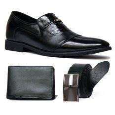 Giày lười công sở SMARTMEN GL-02 + Ví da cao cấp + Thắt lưng da nam sang trọng