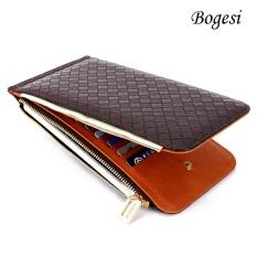 Bogesi 822 Portable Purse Long Lady Wallet Card Money Holder Women Zipper And Hasp Brown -