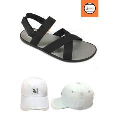 Combo giày sandal quai ngang nam + nón chữ USA trắng GN3A247