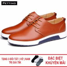 Combo Giày Tây Cao Cấp Tặng Tất - Pettino GD-18 (nâu)