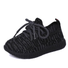 Fashion Girls &Boys Sneakers 2017 Summer Autumn Breathable Sport Soft Bottom Baby Boys Mesh Shoes Kids Running Sneakers (EU SIZE 21-35/Black) - intl