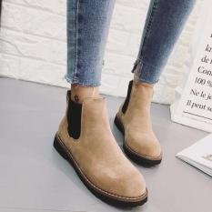 Giày Boot Nữ Da Lộn Phối Thun MSP 2758 (Nâu vàng)
