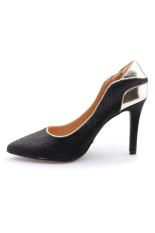 Giày cao gót kim tuyến kiêu sa Senta OA15 (Đen)