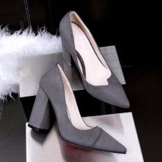 Giày cao gót nữ thời trang, trơn màu hiện đại, dáng thanh lịch - màu xám