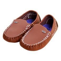 Giày đi học bé trai da PU mẫu M1 Brezzy (Màu nâu da bò)