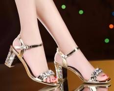 Giày gót vuông đính đá Lilian