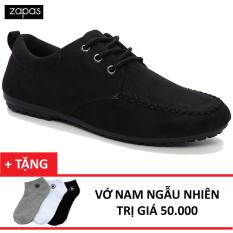 Giày Lười Dây Cột Zapas Vải Nhung - GC007 (Đen) + Vớ Nam